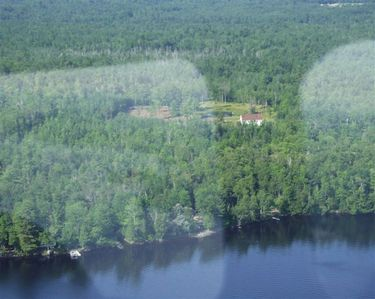 .View from  plane over pushaw lake, access is 400 yards  canoe and kayacs free