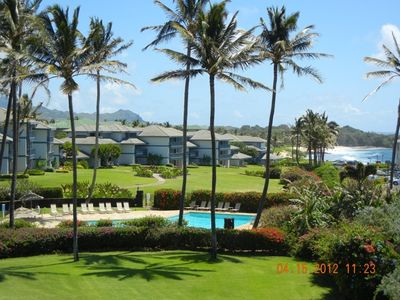 View of Poipu Sands Complex from the south end of Bldg. One- Grounds, Pool.Bay.