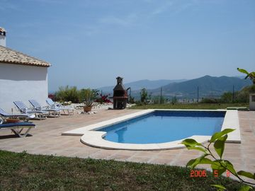 Cartama villa rental - Pool and BBQ area with amazing views