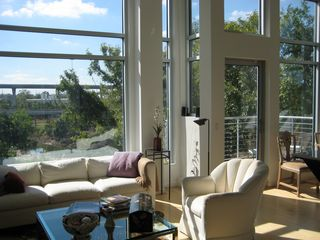 living room overlooking White Oak Bayou - Houston condo vacation rental photo