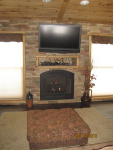 Living room gas fireplace and HD Satellite television