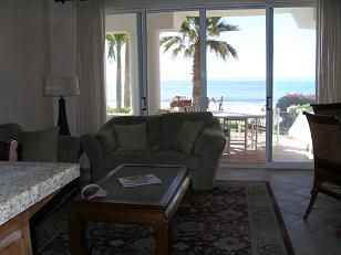 Living Room with view of main deck and ocean.