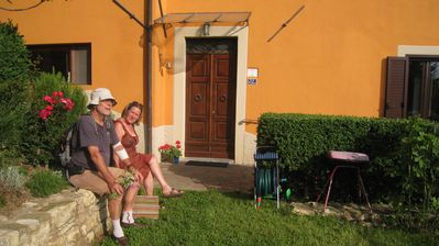 the owners (Pietro and Marijke) at the house front door