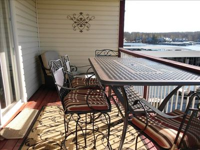 Deck with High Top Table and Chaise Lounge and electric grill