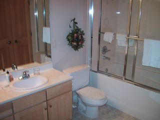 Crestview condo photo - Master Bathroom with 2 sinks and deep shower/tub