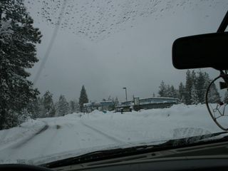 Pinecrest cabin photo - Chains are required in the winter. This is Hwy 108 during a storm.