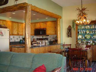Lake Placid condo photo - Dining Room & Kitchen-vintage china, antler lights