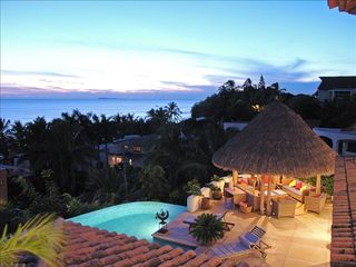 Punta del Burro house photo - Sunset from the terrace and the palapa