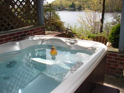 Lake Shawnee cottage rental - Winter or Summer, unwind in the steamy hot tub!