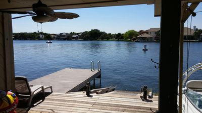 View of lower level dock and jet ski lift.