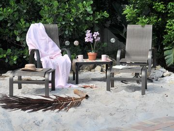 grab a book or some cards and relax in your private beach
