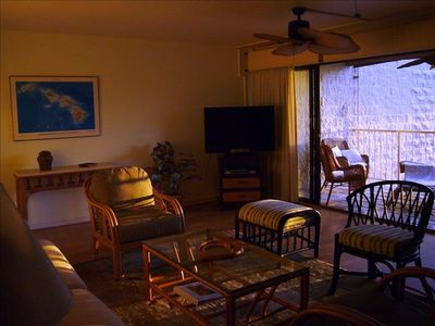 Our living room in the golden glow of sunset