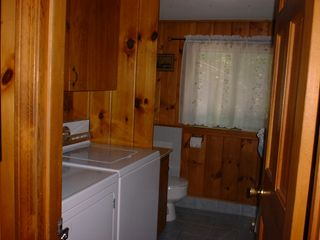 Somesville chalet photo - Upper Level Laundry/Full Bath with Tub/Shower