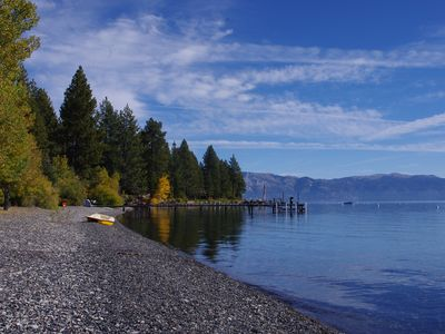 Beautiful Lake Tahoe Patton Beach is a short walk from our home