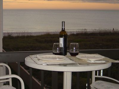 Enjoy a relaxing sunset while dining on your private balcony. 2 cafe tables.