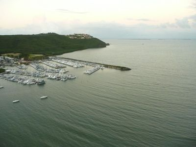 View from balcony of Ocean, nearby keys, marina and Conquistador resort