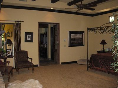 Huge Master Suite with gas fireplace, big screen TV, seperate bathroom.