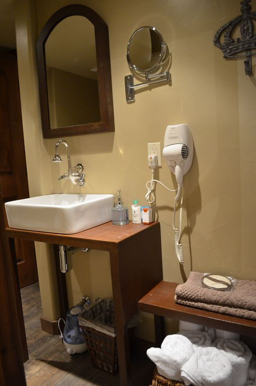 Bathroom with Vessel Sink, Hair Dryer, Plush Towels and Complimentary Toiletries