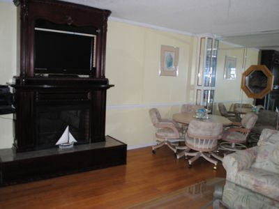 Fireplace and Large screen TV on mantle