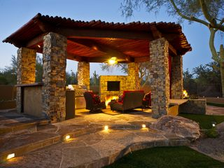 Scottsdale house photo - covered ramada with BBQ, TV, seating area, gas fireplace & attached gas firepit