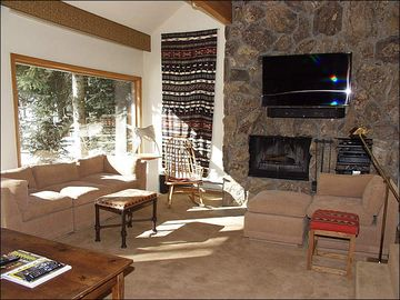 Living Room with View of River/ Large Screen TV