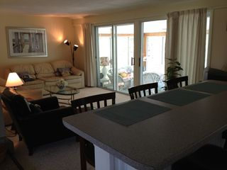 Hyannis - Hyannisport house photo - kitchen island overlooking family room and sunroom
