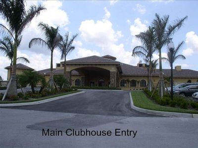 2 story main clubhouse with pool tables, bar, golf, and nearby pool/tiki bar