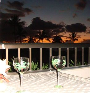 Kick back and enjoy a nice glass of red wine and the Beautiful Maui Sunsets!