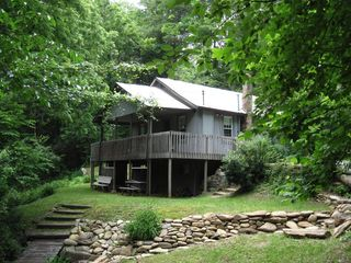 Black Mountain cabin photo - Private Porch with Hot Tub, enjoy the sounds of the Waterfall!