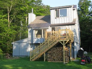 Windham chalet photo - Rear, new deck, stairs down and storage