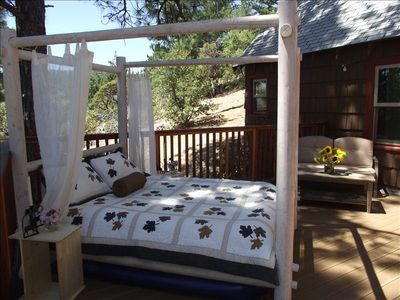 Sleep under the stars in our seasonal outdoor bed, secluded on the master deck.