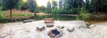 Georgetown estate rental - Lakeside beach area with granite fire pit, picnic table
