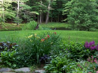 Woodstock cabin photo - Summer garden with glimpse of pond