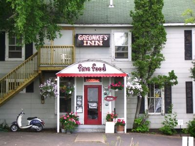 Historical Greunke's Inn across the street. The late JFK Jr. stayed & ate here.