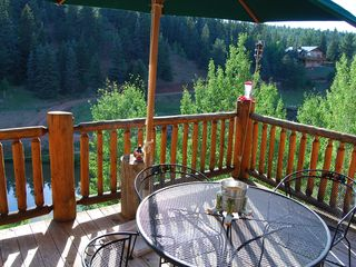 Woodland Park house photo - BBQ Deck off Kitchen with view of 2nd Trout Pond