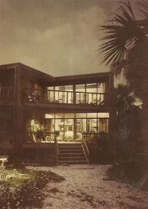 Gulfside @ dusk:1st flr. Liv'g & Din'g Rm, Kitchen; 2nd flr. Master Bedroom