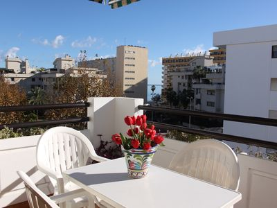 Apartment in La Carihuela, 50 mt from beach, terrace,pool,tennis