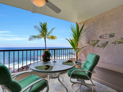 Soft cushions to sit back and relax,  savor  your meals and the fabulous view!