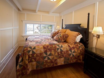 Carmel cottage rental - King bedroom, first floor.