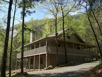 Lake Lure lodge rental - Lagniappe Lodge with view of Rumbling Bald Mountain.