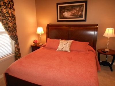 Master Bedroom - King Bed, walk-in closet, HDTV with cable, reading lamps, alarm