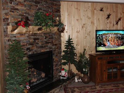 "fireplace, 47"" 3D TV"