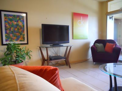 St. Croix condo rental - Living room (north wall)