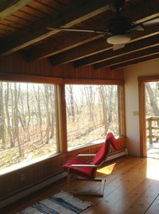 living room, woods & salt marsh view