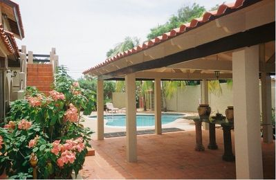 Gazebo and Pool - Back Yard View