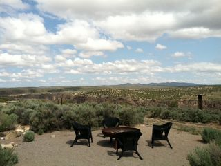 Taos house photo - Fire Pit in Back Yard wiwth View of Rio Grande Gorge and Arroyo Hondo.