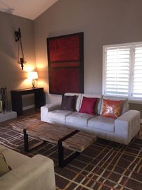 Other Scottsdale Properties house rental - Living room has vaulted ceilings and is open to the dining room and kitchen