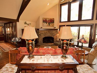 Highlands house rental - A day around the fireplace.