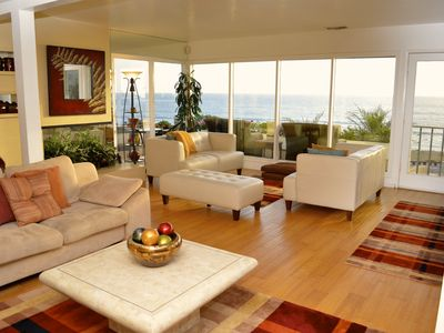 Living room with 180 degrees views of the ocean.