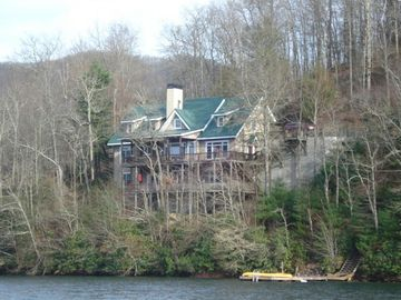 Lake Nantahala house rental - A view of this spectacular property from the lake
